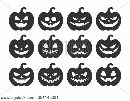 Set Of Halloween Pumpkins Isolated On White Background. Creepy Pumpkins Silhouette. Halloween Concep