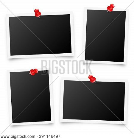 Realistic Blank Photo Card Frame, Film Set. Retro Vintage Photograph With Red Push Pins. Digital Sna