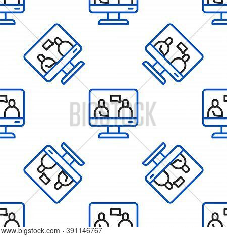 Line Online Education And Graduation Icon Isolated Seamless Pattern On White Background. Online Teac
