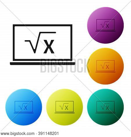 Black Square Root Of X Glyph On Chalkboard Icon Isolated On White Background. Mathematical Expressio