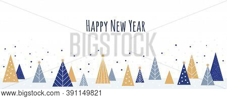 Happy New Year - Winter Banner Background. Vector Illustration In Flat Style - Christmas Decorative
