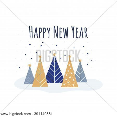 Happy New Year - Winter Card. Vector Illustration In Flat Style - Christmas Decorative Fir Trees And