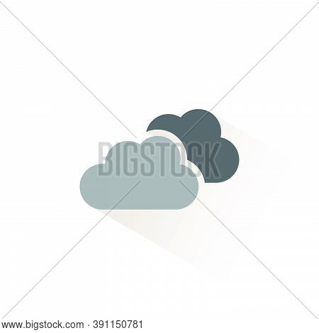 Overcast. Isolated Color Icon. Weather Glyph Vector Illustration