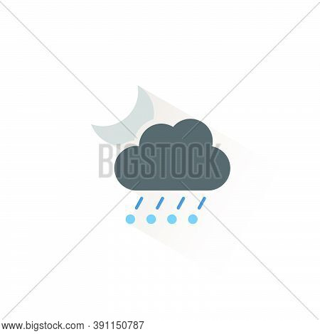 Rain And Hail, Cloud And Moon. Isolated Color Icon. Weather Glyph Vector Illustration