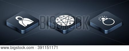 Set Isometric Mantle, Cloak, Cape, Magic Stone Ring With Gem And Pentagram In A Circle Icon. Vector