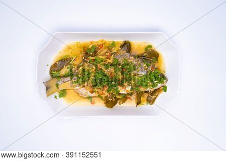 The Top Angle Of Ikan Siakap (scientific Name: Lates Calcarifer) A Typical Asian Cuisine Food. Isola