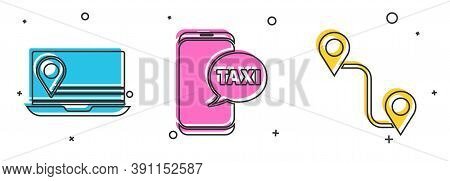 Set Laptop With Location Marker, Taxi Call Telephone Service And Route Location Icon. Vector