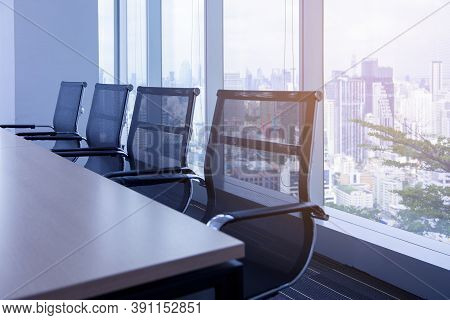 Blue Background Of Business Conference Room Or Meeting Room