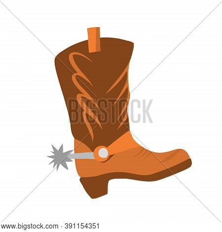 Vector Illustration With Cowboy Boot On A White Background Isolated. Leather Shoes For Riding A Hors