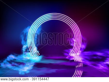 Neon Color Geometric Circle On Pattern Background. Round Mystical Portal, Neon Sign. Reflection Of B