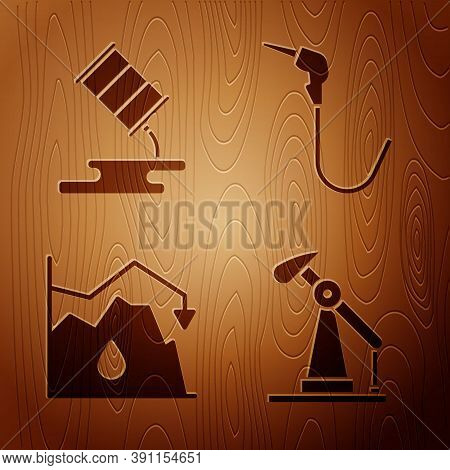 Set Oil Pump Or Pump Jack, Barrel Oil Leak, Drop In Crude Oil Price And Gasoline Pump Nozzle On Wood