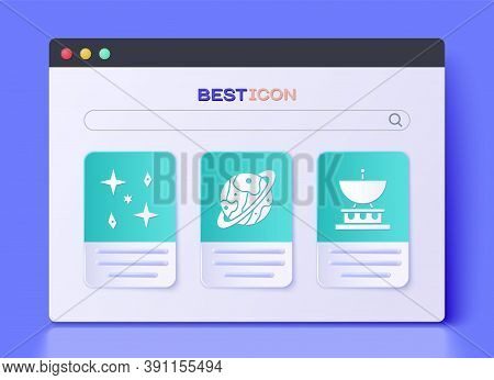 Set Planet Saturn, Falling Stars And Satellite Dish Icon. Vector