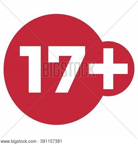 Red Drop Icon Circle With Age Limit 17 Seventeen