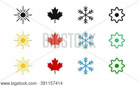 Four Season Vector Icon Set. 4 Seasons Symbol Collection. Winter Summer Autumn Spring.