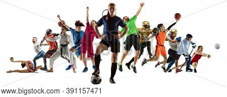 Sport Collage Of Professional Athletes Or Players On White Background, Flyer. Made Of Different Phot