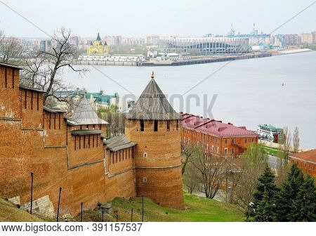 Spring View Of The Towers Of The Nizhny Novgorod Kremlin Against The Background Of The Confluence Of