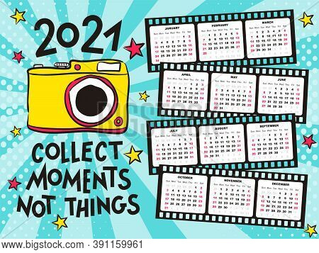 2021 Yearly Calendar Template For Photographers. 12 Months Yearly Calendar Set In 2021 In Photo Film