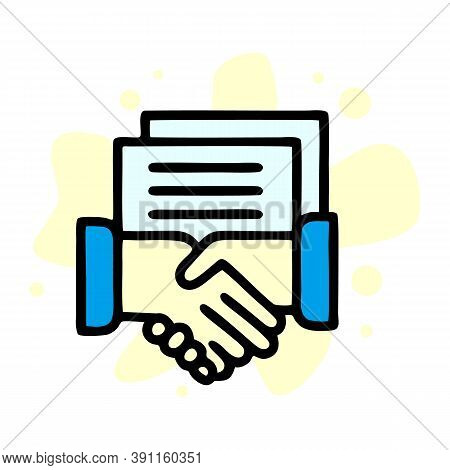 Notary Judge Handshake Icon. Outline Notary Judge Handshake Vector Icon For Web Design Isolated On W