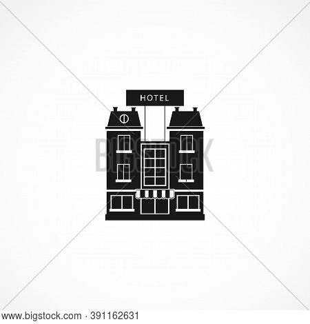Hotel Building Icon. Isolated House Icon. Design Element On White Background