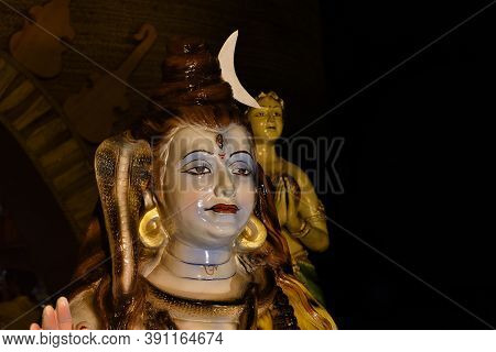 Hindu God Statue, Lord Shiva Sculpture Sitting In Meditation In Midnapore, West Bengal.