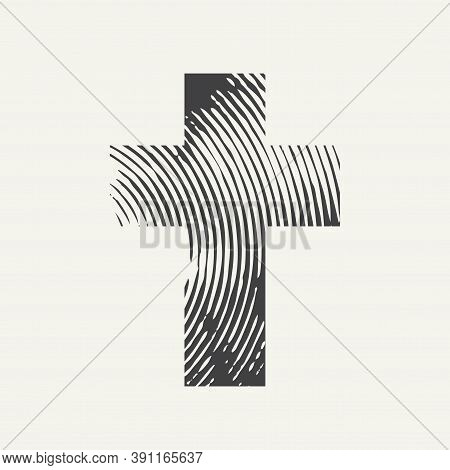 Abstract Textured Cross Isolated On A Light Background. Creative Vector Banner Or Illustration On Th