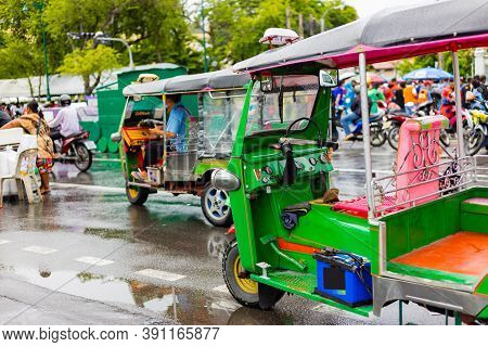 Green Tuk Tuk, Thai Traditional Taxi At In Bangkok Thailand.