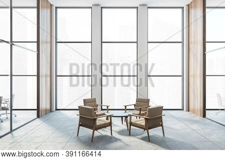 Four Armchairs In A Big Bright Wooden Room In The Office. Business Meeting Room For Four People, Wit