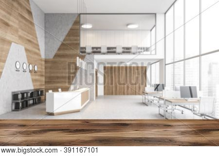 Reception Hall With Desk And Tables With Computers Near Big Window Blurred Illustration, Business Ce