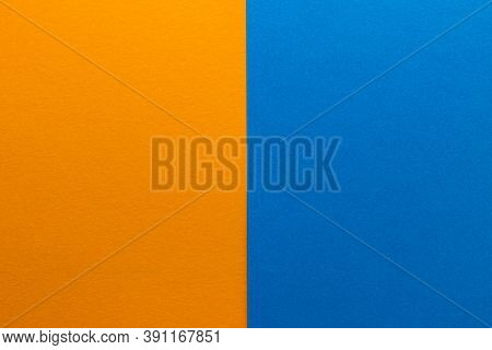 Background Of Two Vertical Rectangles Blue And Orange. Sheets Of Blank Blue And Orange Paper With Fi