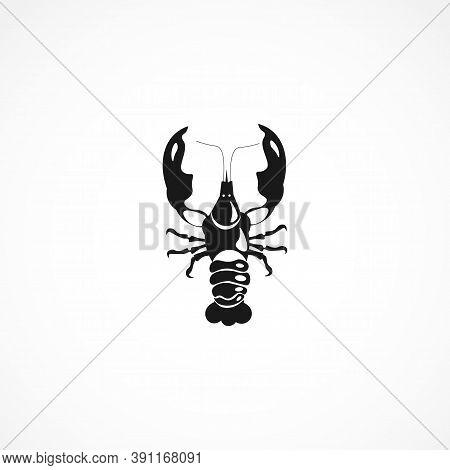 Crayfish Icon. Isolated On White On White Background