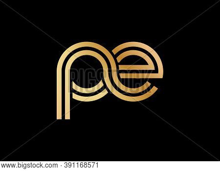 Lowercase Letters P And E. Flat Bound Design In A Golden Hue For A Logo, Brand, Or Logo. Vector Illu