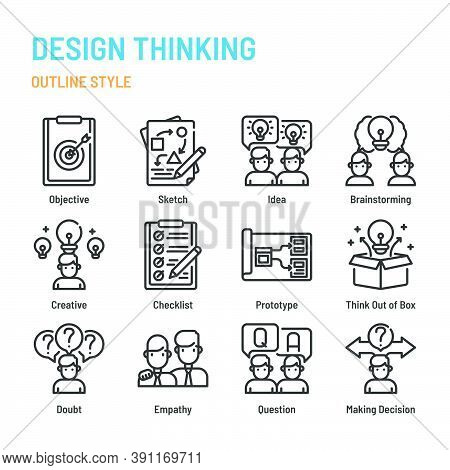 Design Thinking In Outline Icon And Symbol Set
