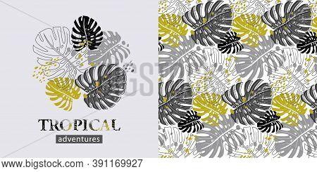 A Set Of Elements Such As A Print Of Silhouettes Of Tropical Leaves And A Pattern In Monochrome Colo