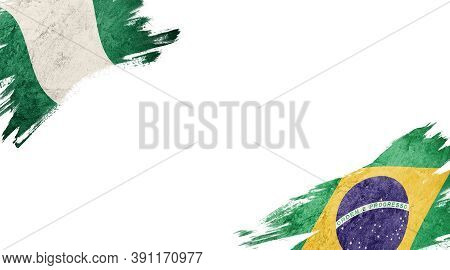 Flags Of Nigeria And Brasil On White Background