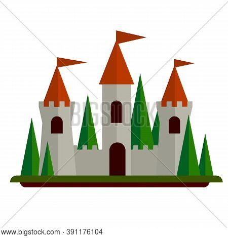 Fairytale Castle. Stone Walls And Towers. Fort For Protection.