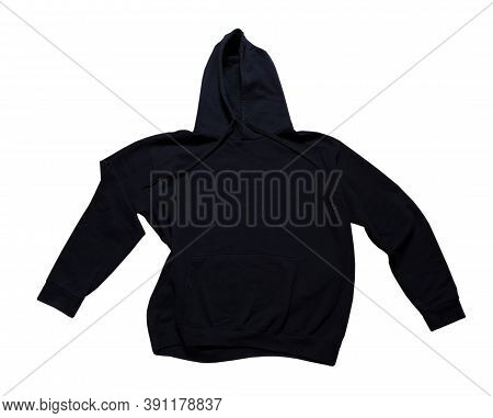 Black Hoodie Isolated On White Background. Hoody Isolated Over White, Hooded Sweater Mockup