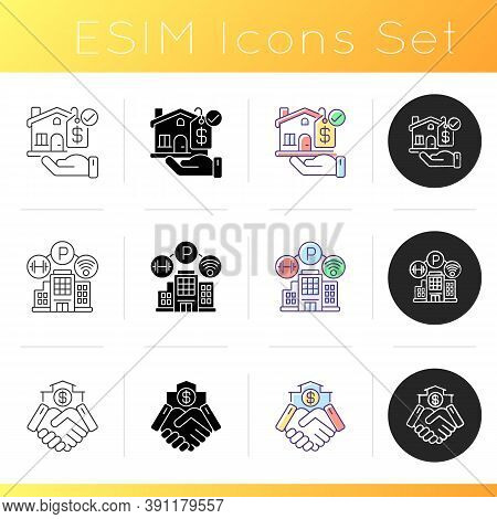 House Amenities Icons Set. Mortgage To Buy Property. Realty For Sale. Business Deal. Residence For L