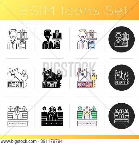 Realtor Agency Icons Set. Rental For Residential House. Empty Land Plot For Sale. Investment Into Re
