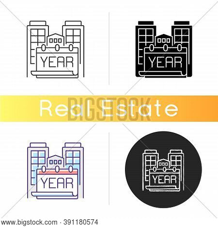 Year Built Icon. Engineering Plan For Structure. Building Time Of House. Residential Home. Accommoda