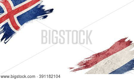 Flags Of Iceland And Nederland On White Background