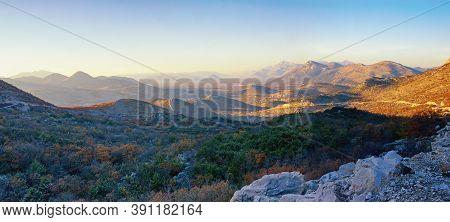 Autumn In Mountains, Beautiful Panoramic Landscape. Dinaric Alps, Bosnia And Herzegovina, Republika