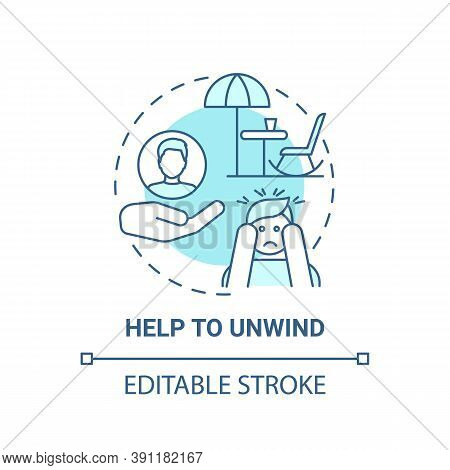 Help To Unwind Concept Icon. My Free Time Benefits. Refresh Everyday Advices. Relax Your Brain Idea