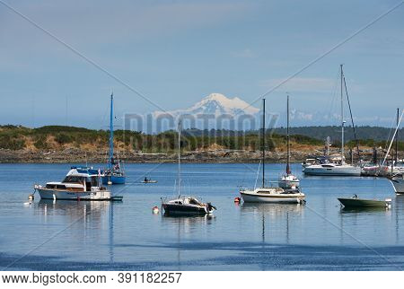 Vancouver Island Mount Baker View. Looking Across Oak Bay On Vancouver Island With Mount Baker In Th