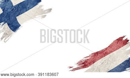 Flags Of Finland And Nederland On White Background