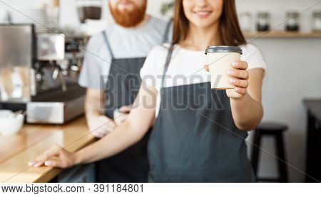 Coffee Business Concept - Positive Young Bearded Man And Beautiful Attractive Lady Barista Couple Gi