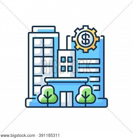 Banks And Financial Institutions Rgb Color Icon. Business Operations. Banking Institutions. Investme