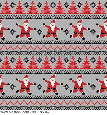 Knitted Christmas And New Year Pattern In Santa Claus. Wool Knitting Sweater Design. Wallpaper Wrapp