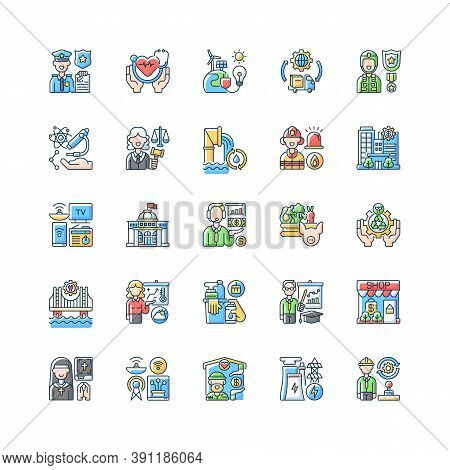 Essential Services Rgb Color Icons Set. Key Industries. Hospitals And Other Healthcare. Electricity