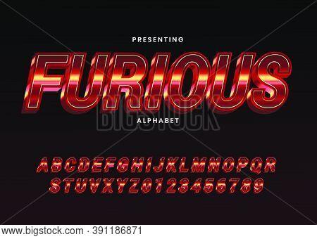 Metallic Font Alphabet Template. Modern Italic Alphabet Font. Typography Furious Style For Movie Tec