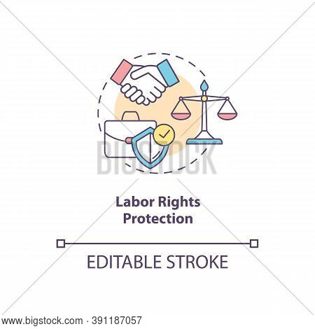 Labor Rights Protection Concept Icon. Social Change Benefit Idea Thin Line Illustration. Right To Wo